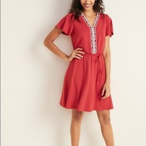 Old navy embroidered fit and flare dress